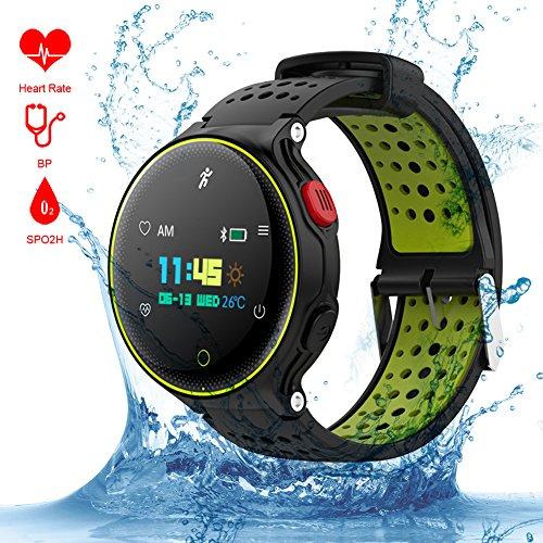 Qimaoo Waterdicht Smart Horloge met Hartslag, Kleur Scherm Fitness Activiteit Tracker, Bluetooth Sport Polshorloge Gezondheid Polsband Armband Slaap Monitor voor Android en iPhone Smartphones