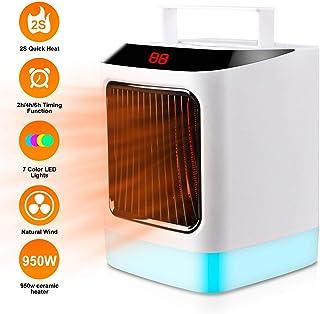Plysin Calefactor Portátil, Calentador Eléctrico de Espacio con 7 Colores Leds Luces, Termostato Ajustable Ventilador Portátil Heater de Aire, Mini Calentadores de Cerámica para Hogar y Oficina