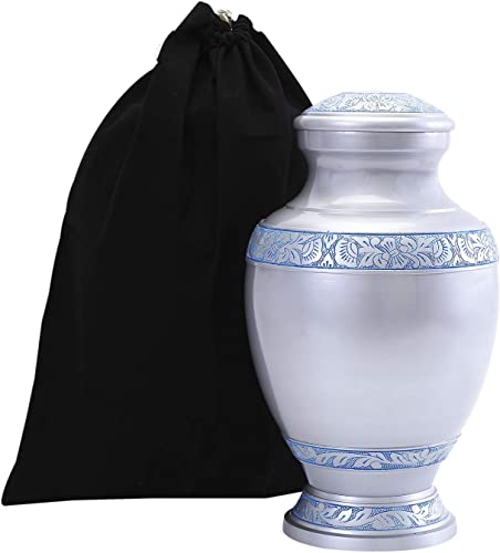 wholesale GSM Brands Cremation Urn Holds Adult Human lowest Ashes (Extra Large Capacity) - Handcrafted Funeral Memorial with Elegant Silver Design (14 Inch Height x 7.75 Inch online sale Width) outlet online sale