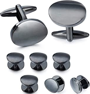 Shiny Cufflinks and Studs Set for Men - 2 Pcs Cufflinks with 6 Pieces Studs in Gift Box