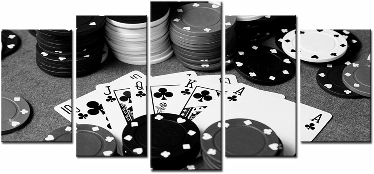 LevvArts - 5 Piece Canvas Prints Black and White Poker Picture Painting Wall Art for Pub Bar Casino Wall Decoration,Stretched and Framed Easy Hanging