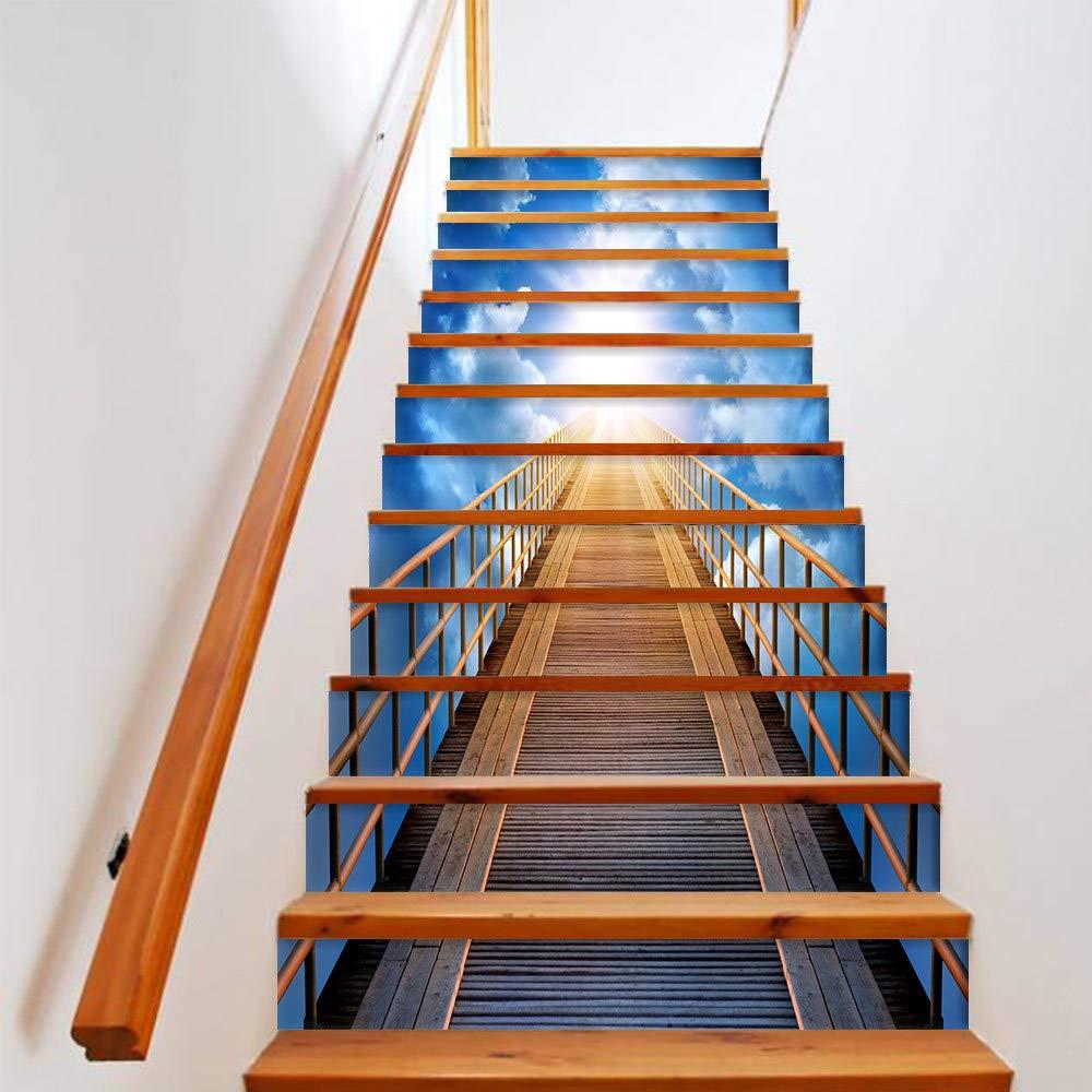 TZQT Etiqueta Engomada De La Escalera 3D Papel Pintado Desmontable del Arte De DIY Impermeable Respetuosa del Medio Ambiente,A-18cm*100cm: Amazon.es: Hogar