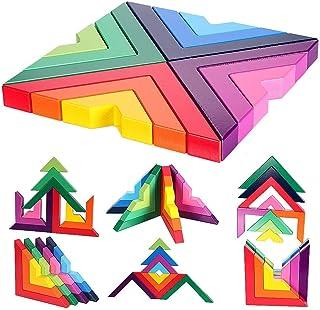 Agirlgle Building Blocks Stacking Game for Kids Children Preschool Learning Educational Toys Shape Color Sorter Recognitio...