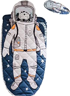 YAYIDAY Toddler Sleeping Bag with Pillow - Kick-Proof Slumber Bag for Kids Nursery - 100% Cotton Quilted Blue Nap Mat Blanket Soft Warm Boy Spaceman Astronaut Print