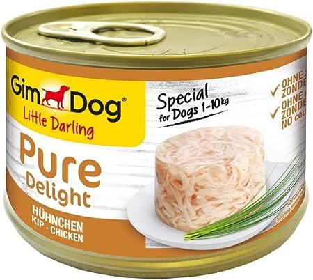 GimDog Pure Delight, pollo - Snack para perros rico en proteínas, con carne tierna en deliciosa gelatina - 18 latas (18 x 150 g)