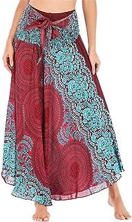 Women's Casual Long Hippie Bohemian Flowers Skirt Gypsy Dress Halter Skirt