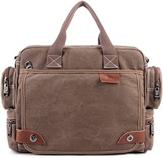 Men's Briefcase Bag Handbags Canvas Business Handbags Retro Large Quality Multifunction Vintage Shoulder Bag Brand Business Men (Color : Brown, Size : S)