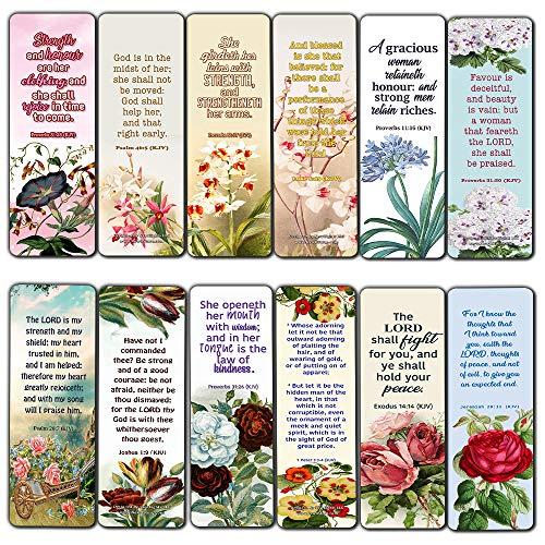 Religioso Empowering Bible Verses Fiori segnalibri per le donne (30 pezzi) - Handy cambiano la vita Bibbia Testi e citazioni con disegni di fiori