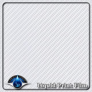 "Hydrographics Film - Water Transfer Printing Film - Hydro Dipping - Film measurement is: 20"" X 10' feet roll CF-181 - Diagonal Silver & Clear Carbon Fiber"