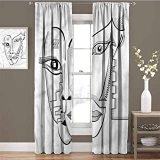 GUUVOR Surrealistic Heat Insulation Curtain Cubism Style Faces for Living Room or Bedroom W72 x L84 Inch