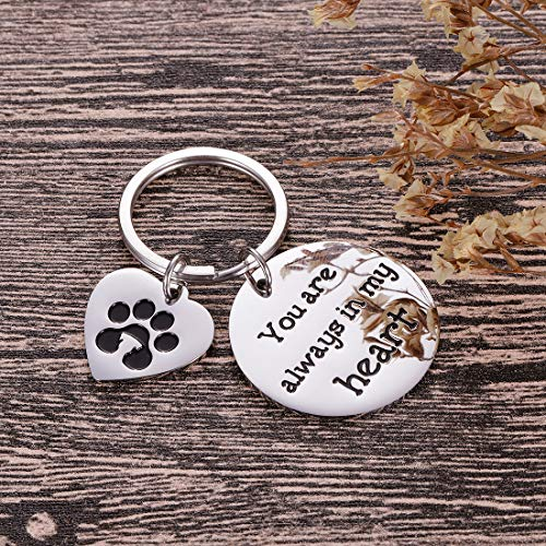 Pet Memorial Gifts Keychain for Pet Dogs Owner Dog Mom Dad Remembrance Memory Sympathy Gifts for Loss of Dog Pet Loss Gifts Keepsake for Dog Lover You are Always in My Heart Paw Print Keyring Photo #5