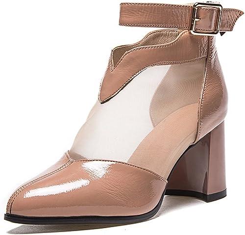 QIDI Sandales Sandales Sandales Saison D'été Femme à La Mode Résistant à L'usure Talon Haut Chaussures Simples ( Couleur   T2 , taille   EU39 UK6.5 ) 40a