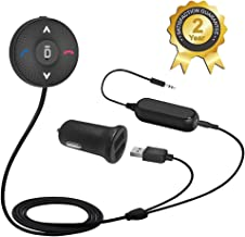 Besign BK03 Bluetooth 4.1 Car Kit for Handsfree Talking and Music Streaming, Wireless Audio Receiver with Dual Port USB Car Charger and Ground Loop Noise Isolator for Car with 3.5mm AUX Input Port