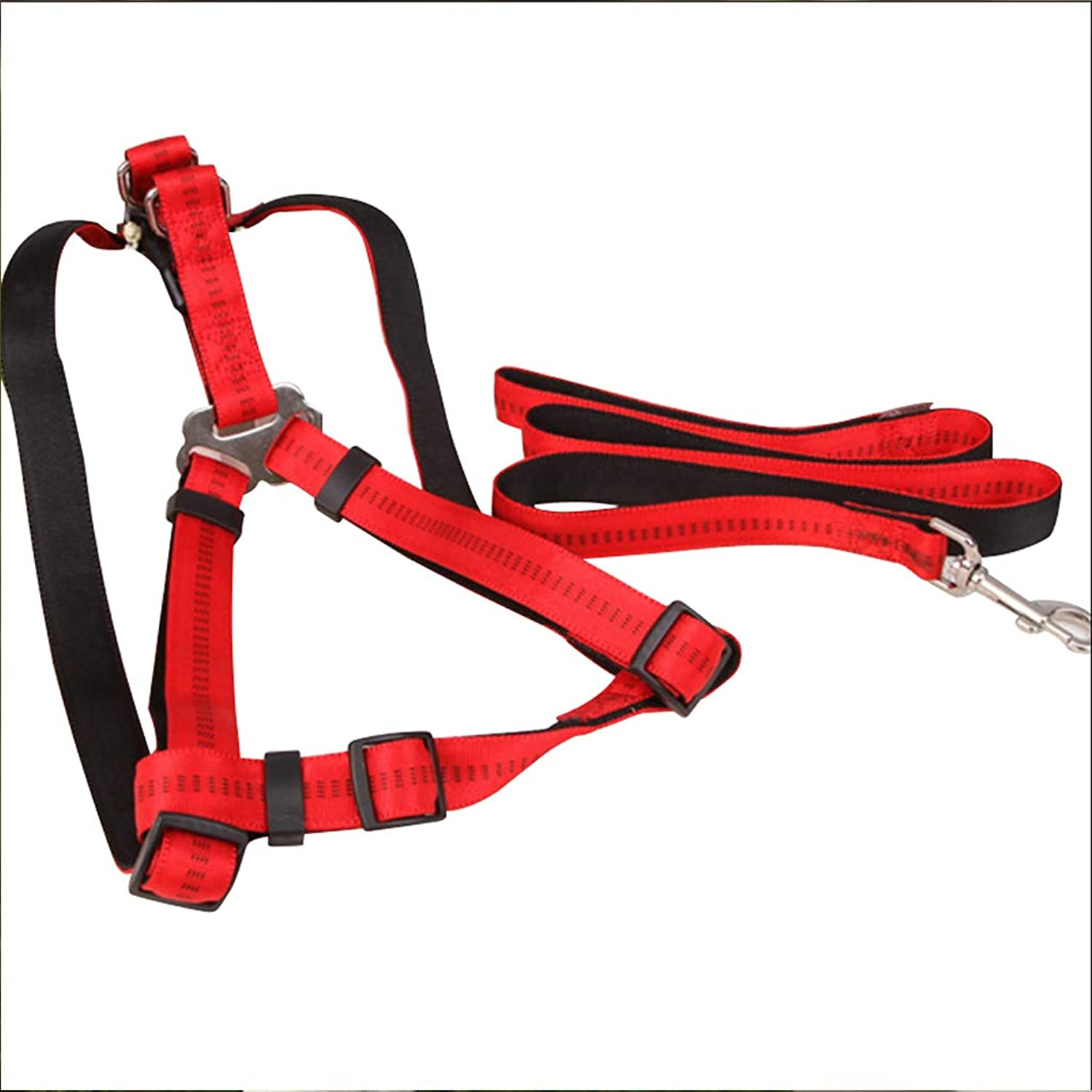 Pet Leash Dog Leash, Adjustable Vest Harness for Medium and Large Dog Chest Strap Have Red Black Brown Lead (color   RED, Size   S)