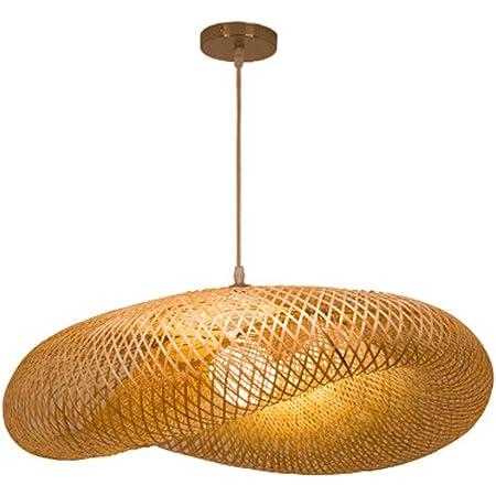 Lampe Pendentif Tissage Vintage Lampe Bambou Et Rotin Naturel Tissé Suspendu Creative Nostalgique Réglable E27 Lustre Restaurant Tea Room Chambre Salon Café Bamboo Lampes Suspendues