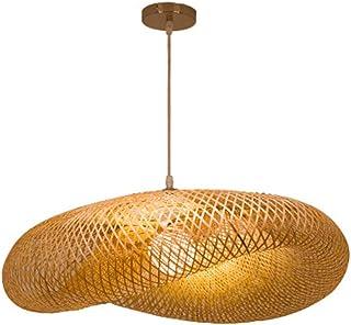 E27 Araña de luces Principal De Bambú De Mimbre Rattan De La Sombra De Ondas Colgante Pendiente Iluminación Lámpara De La Vendimia Rústica Casa Japonesa Interior Del Comedor Altura ajustable