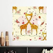 DIYthinker Yellow Kissing Giraffes Valentine's Day Vinyl Wall Sticker Wallpaper Room Decal