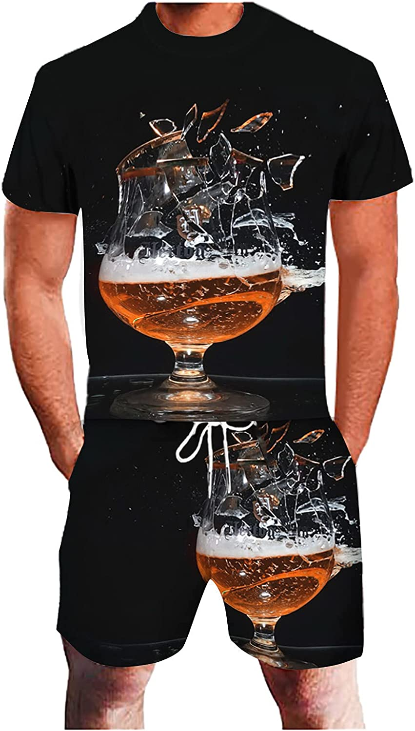 Free Shipping Cheap Bargain Gift Plus Size Sports Suits for Men 3D Tracksuit Summer Surprise price Beer Printing