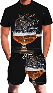 Plus Size Sports Suits for Men Summer 3D Beer Printing Tracksuits Fitness Running 2 Piece Sweatsuits