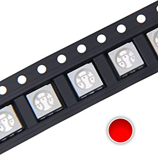 Chanzon 100 pcs 5050 Red SMD LED Diode Lights (Surface Mount 5.0mm x 5.0mm 3 Chips/LED PLCC 6 pins 60mA) Super Bright Lighting Bulb Lamps Electronics Components Light Emitting Diodes