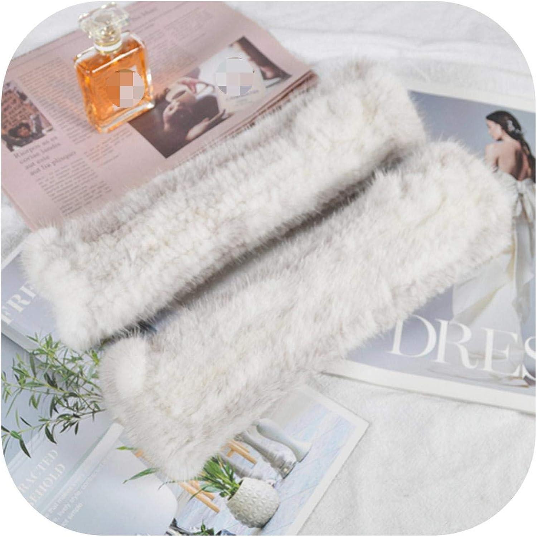 Lady 30cm Real Mink Fur Gloves Women Knit Real Mink Fur Fingerless Gloves Girls Good Elastic Real Mink Fur Mittens-cross mink-One Size