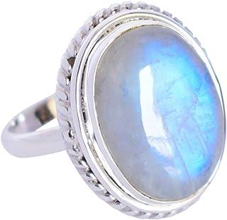 Ravishing Impressions Jewellery Increíble anillo de plata de ley 925 con piedra lunar arco iris, joyería de diseño FSJ-5246