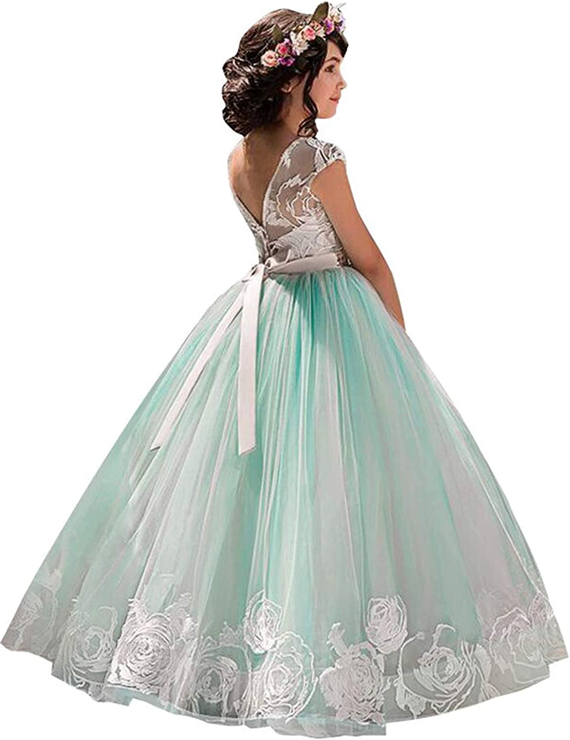 NNJXD Girls Princess Pageant Dress Kids Prom Ball Gowns Sequined Wedding Party Flower Fluffy Dresses