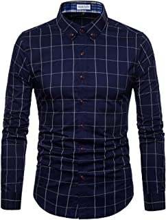 Mens Long Sleeve Plaid Classic Shirt-Casual Cotton Shirt