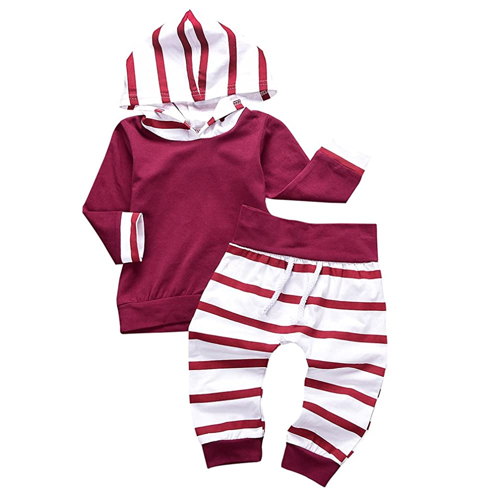 Aalizzwell 2Pcs Toddler Baby Girls' Boys' Wine Red Striped Hoodie Tops+Pants Clothes Set
