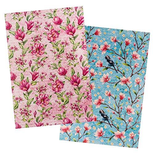 Ideen mit Herz 2 hojas de papel de arroz, papel de decoupage elegante, DIN A4, 2 diseños diferentes, vintage, Navidad, etc. (flores 22)