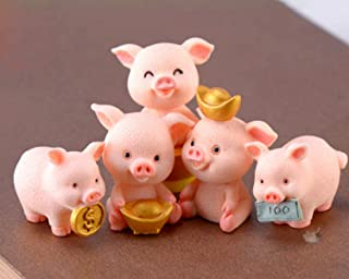 HYSTYLE 5 Pcs Miniature Pigs Figurines, Cute Pink Pig Family Toys Figures DIY Crafts for Fairy Garden Decoration Home Decor Cake Toppers
