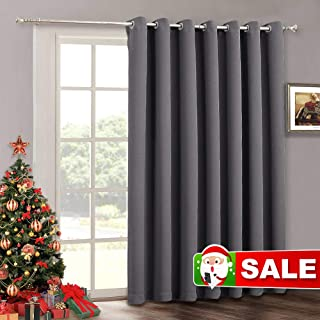 Blackout Curtains Patio Door Drapes - Christmas Decoration Grommet Curtain Bedroom Thermal Insulated Vertical Blind Window Treatment for Living Room Sliding Glass Door, Wide 100 x Long 84 inch, Grey