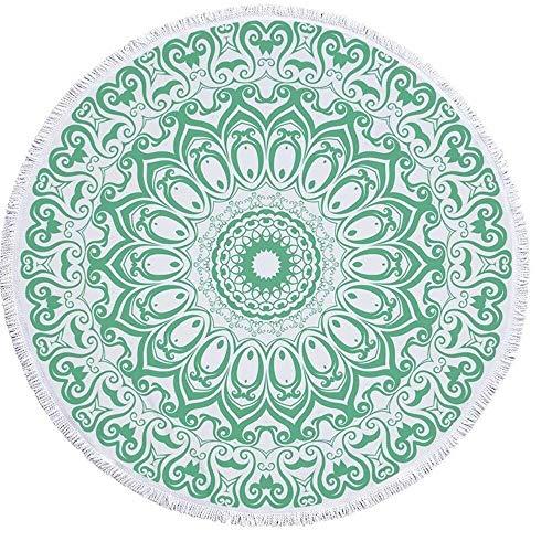 WHSS Toalla De Playa Redonda Mandala Poliéster Roundie Manta Toalla Hippie Tapicería Paño De Mesa Meditación Yoga Estera De Picnic Viaje Baño Ligero Mantilla Protector Solar Acampar