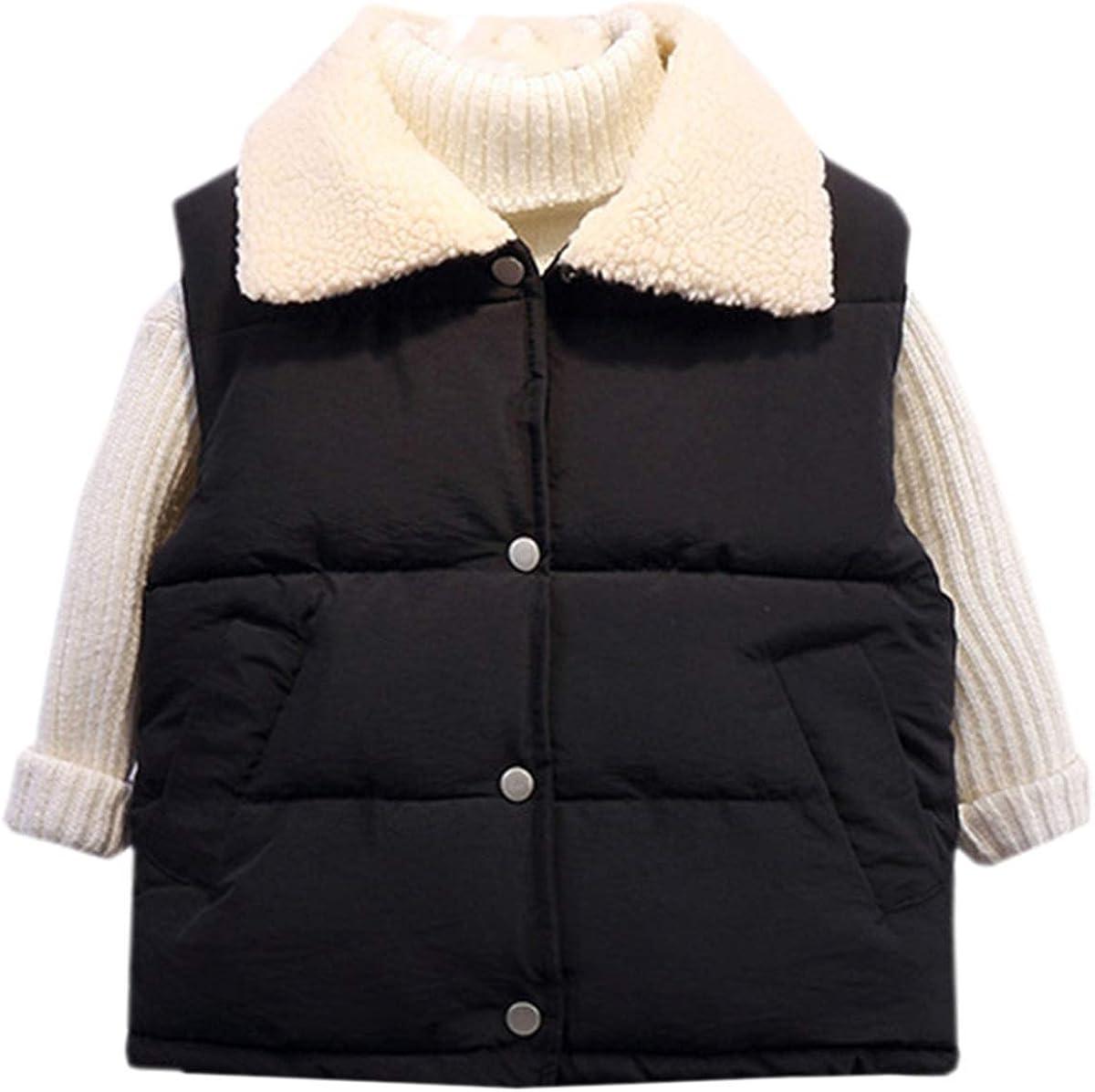 Betusline Boys's Lapel Sherpa Lined Warm Down Vest Sleeveless Jacket, 2-10 Years