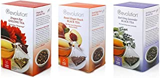 Revolution Tea Bundle Dragon Eye Oolong Tea, Earl Grey Lavender Black Tea and Sweet Ginger Peach Black Tea, 16 Count Each
