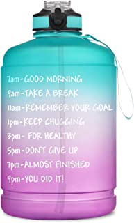 BOTTLE BOTTLE Gallon Water Bottle motivational with Straw & Big Handle, Large 1 Gallon Water Bottle with Time Marker , BPA Free Leakproof Water Jug for Fitness and Outdoor Sports.