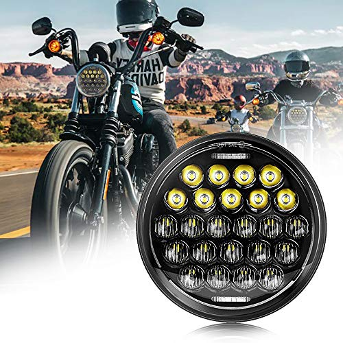"""SUP-LIGHT 5 3/4"""" 5.75 Inch Motorcycle LED Headlight Compatible with Harley Davidson Dyna Sportster Iron 883 Street BOB Low Rider Super Wide Headlamps with Round Projector Driving Light -Black"""