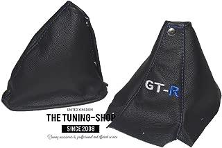 For Nissan Skyline R34 1998-2002 Shift & E brake Boot Black Genuine Leather Blue
