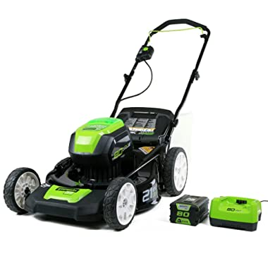 Greenworks PRO 21-Inch 80V Cordless Lawn Mower, 4Ah Battery and Charger Included 2501202