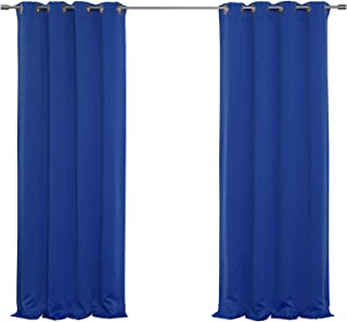 Best Home Fashion Premium Thermal Insulated Blackout Curtain - Antique Bronze Grommet Top - Royal Blue - 52