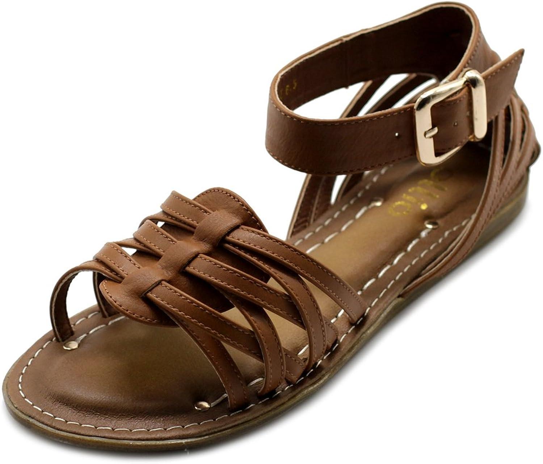 Ollio Womens shoes Ankle Strap Gladiator Flat Sandal (6.5 B(M) US, Brown)