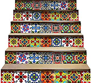 Mi Alma Peel and Stick Tile Backsplash Stair Riser Decals DIY Tile Decals Mexican Talavera Home Decor Staircase Decal Tile...
