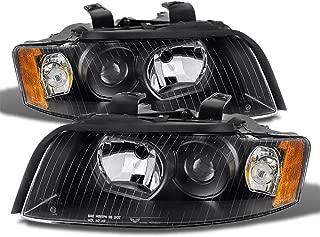 VIPMOTOZ Black Housing OE-Style Projector Headlight Headlamp Assembly For 2002-2005 Audi B6 A4 S4 Sedan Wagon Halogen Model, Driver & Passenger Side