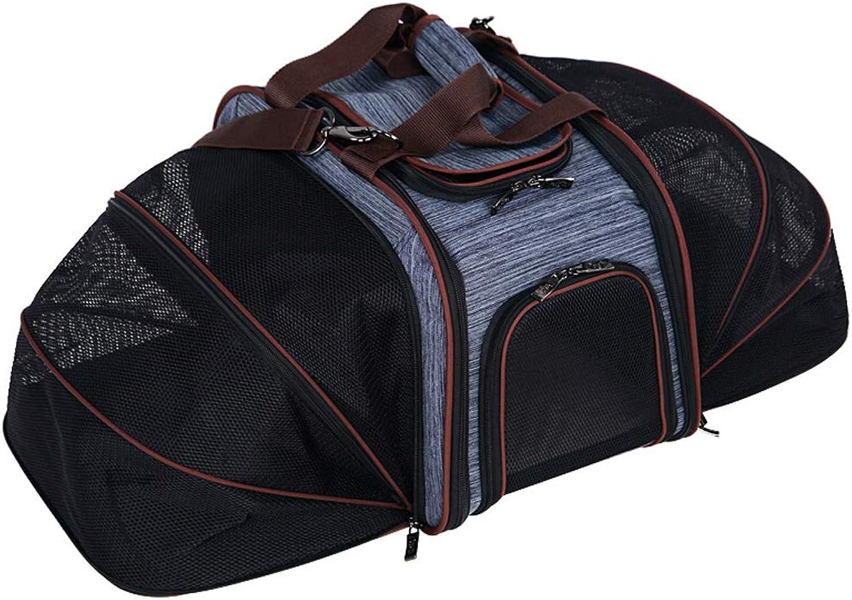 Foldable Pet Out Carrying Bag, Cat Dog Backpack Pet Bag (color   bluee)
