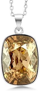 Rhodium Plated 18X13MM Octagon Cut Pendant Made with Swarovski Crystals