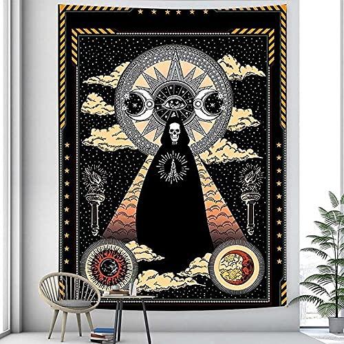 Tapiz de mandala de meditación de rey esqueleto en blanco y negro tapiz de Mandala Hippie Tarot Yoga Mat tapiz A2 130x150cm