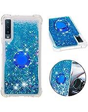 Funda Samsung Galaxy A7 (2018) / A750 TPU Silicona Purpurina Carcasa,Funda para teléfono móvil de Arena movediza líquida en con Base de Anillo de Diamantes (Amor Azul)