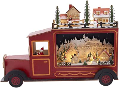 Kurt S. Adler 13-Inch Battery-Operated Light-Up Wooden Santa in Truck with Village Scene Table Piece, Multi