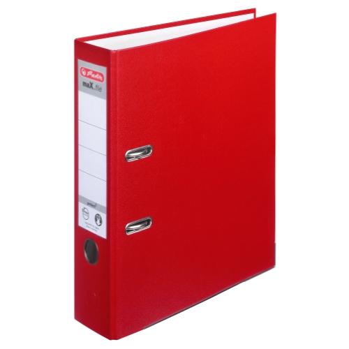 Herlitz 9942657 Ordner maX.file protect A4 8cm rot, PP-Kunststoffbezug/Papier hellgr.besch. 5er Packung
