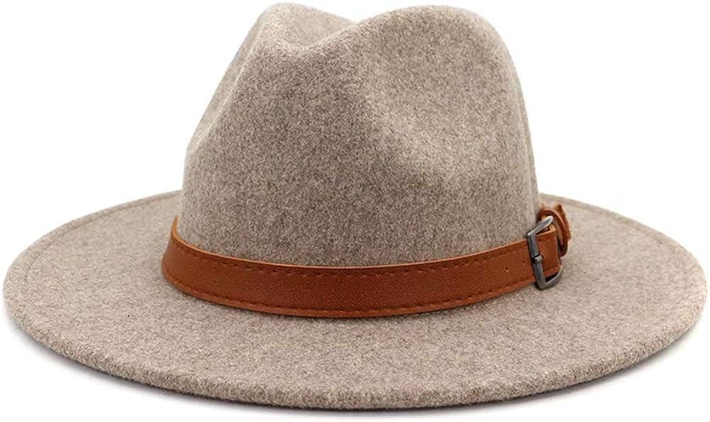 Gossifan Classic Wool Fedora Hats Wide Brim Belt Buckle for Women & Men